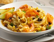 Chili Rubbed Shrimp & Corn Fettuccine with Tequila Lime Butter Sauce