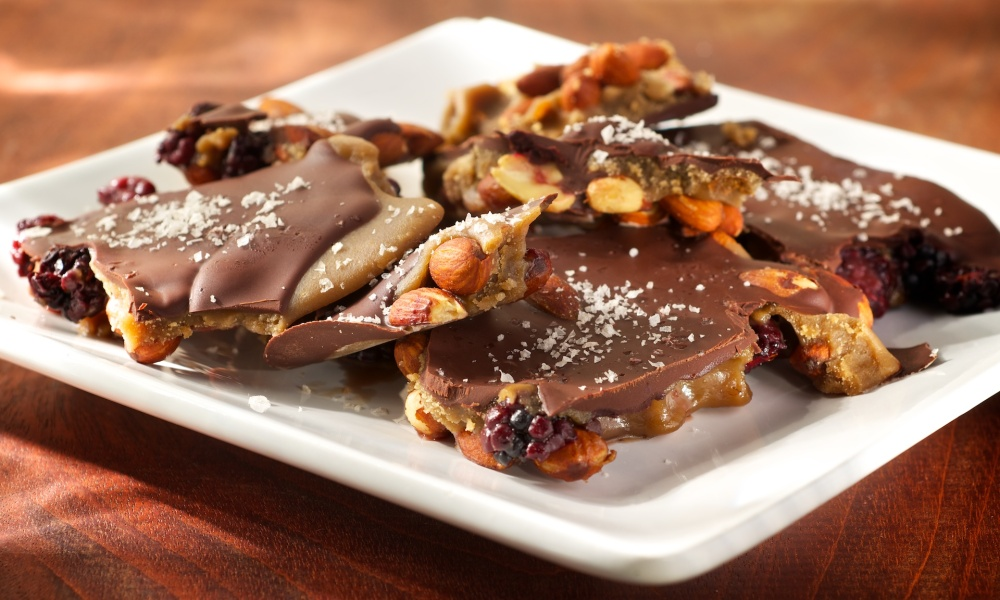 Dark Chocolate Caramel Almond Candy with Sea Salt