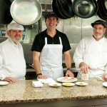 In the kitchen with Chef Paul Miller (right) and Food Channel host Andy Ford (middle)