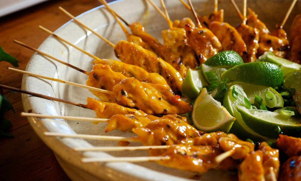 For this festive appetizer, we grilled juicy marinated chicken tenders skewered on bamboo sticks, and basted them with a tangy-sweet honey mustard BBQ sauce spiked with sweet chili sauce. Simply delicious!