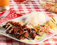 Filipino Barbecue Chicken Skewers with Pickled Slaw
