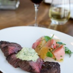 Bavette with Blue Cheese-Portini Butter and side of seasonal vegetables