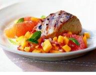 Grilled Mahi Mahi with Peach and Pink Grapefruit Relish Recipe