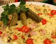 Ham and Eggs Pickled Couscous Salad