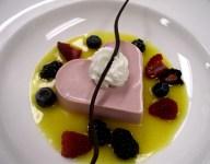 Raspberry Heart-Shaped Panna Cotta