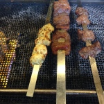 Shish kebob on the open grill