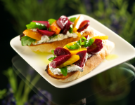Roasted Beet & Whipped Goat Cheese with Arugula Dressed in Lavender Oil