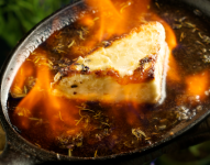 Pan-Seared Greek Cheese with Lavender Oil