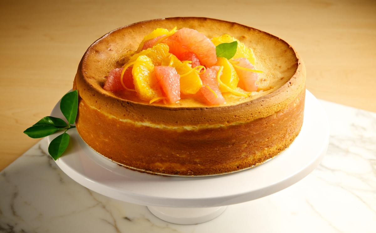 New York-Style Cheesecake with Orange-Grapefruit Syrup