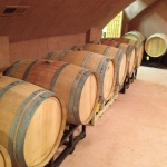 The tasting room is bordered with barrels on both sides