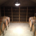 Wine is aged in oak barrels