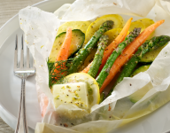 Vegetables en Papillote (in Parchment) with Lemon Herb Butter Sauce