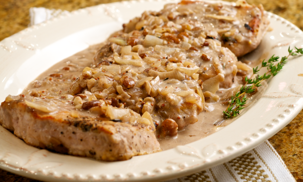 Pork Loin with Black Walnuts and Mustard Sauce