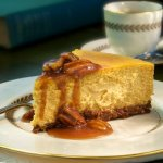 Our Pumpkin Cheesecake with Bourbon Sauce