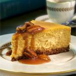 Pumpkin Cheesecake with Bourbon Sauce