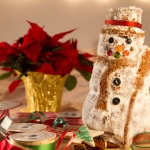 Snowman coated with a thin layer of frosting and sanding sugar