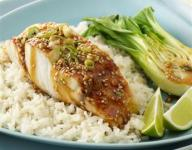Steamed Striped Bass with Jasmine Rice and Soy Ginger Dressing Recipe