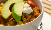 Here's a terrific chili recipe for vegetarians or people who are simply cutting back on their meat consumption. It's brimming with all kinds of good things like plum tomatoes, eggplant, edamame, garlic, onions, garbanzo and cannellini beans. Even meat lovers will enjoy it!