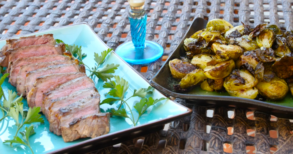 photo of brussel sprouts, mushroom steak and ice cream, all seasoned with do it yourself seasoned salts
