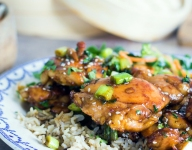 Sticky Honey Garlic Chicken Thighs with Pickled Vegetable Salad