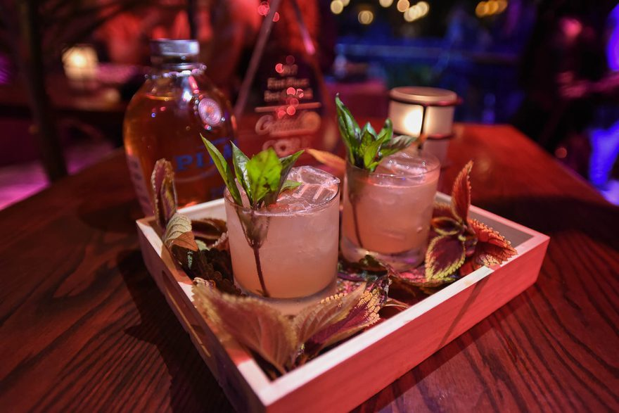 Shot of several Papa's Watering Hole cocktails on a serving tray.