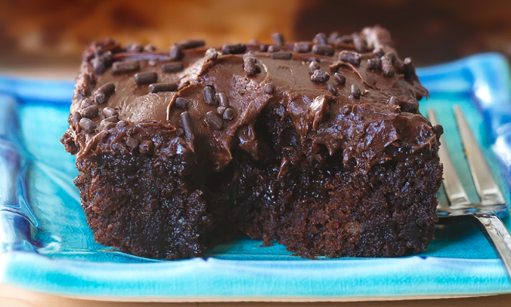 Chocolate Poke Cake by Hershey's Kitchen in partnership with Chocolate Covered Katie