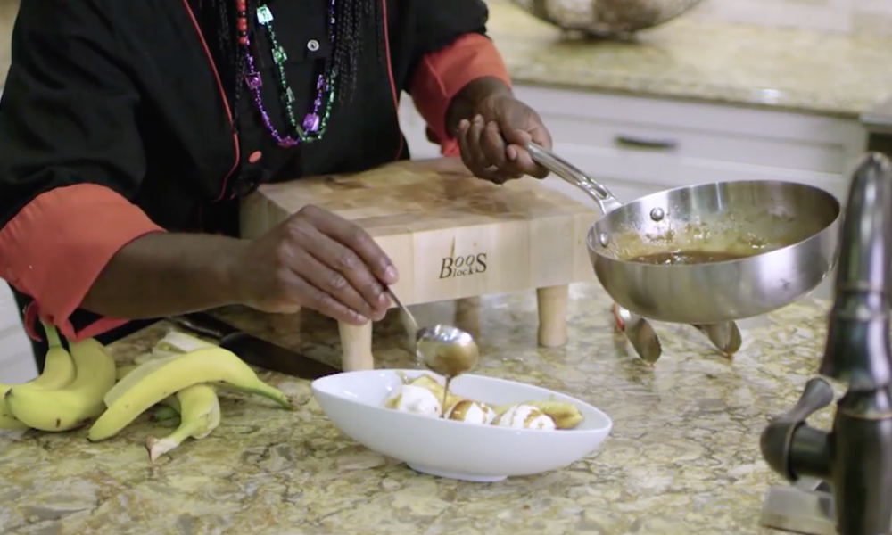 Dinner is over and it's time for dessert! In this Part 2 of your perfect Mardi Gras Meal series by Chef Ace Champion we have a New Orlean's Style Bananas Foster topped with a creamy Vanilla Bean Ice Cream.