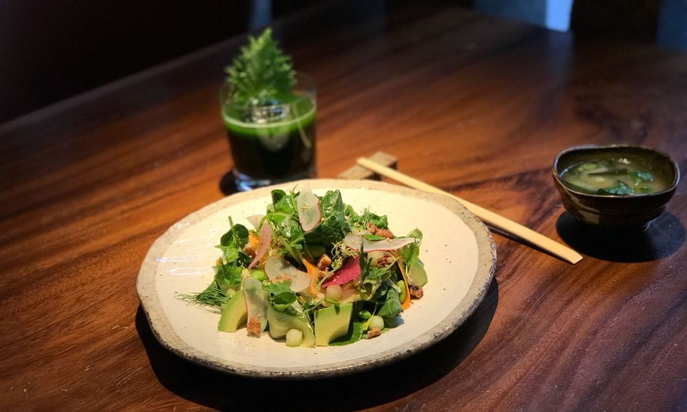 Kenko Set is a three-course detoxifying meal featuring a freshly pressed juice, miso soup and salad bowl, which is available at Zuma for $21.