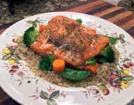 Hoisin Sauce Glazed Salmon, Rice with Chives and Steamed Broccoli Dinner