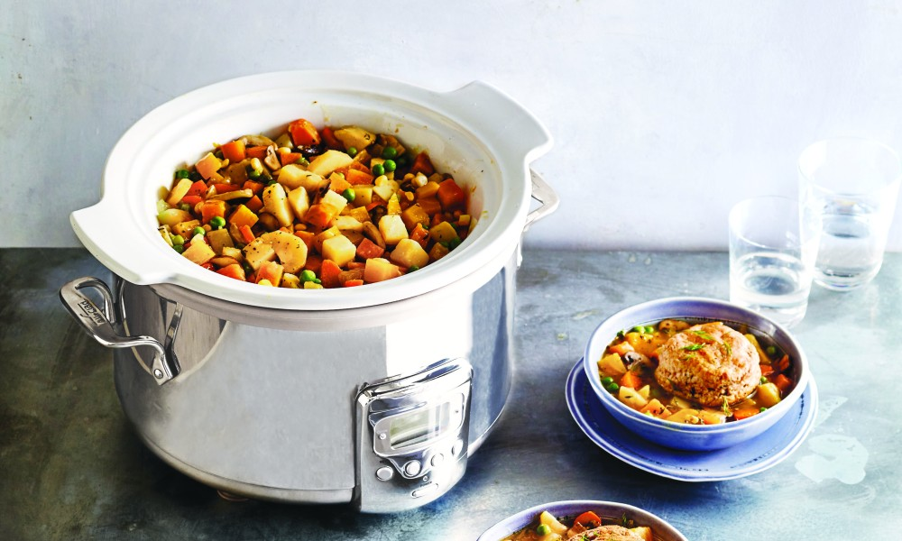 Staging this recipe makes it possible for all of the vegetables to be at their best. Put the heartier ones in the cooker at the beginning, adding the more delicate ones near the end of the cooking time.