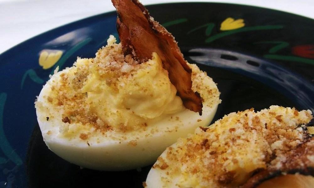 Warm and Cheesy Stuffed Eggs via The Yankee Chef, Jim Bailey