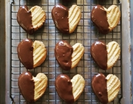 Chocolate Dipped Peanut Butter Heart Cookies