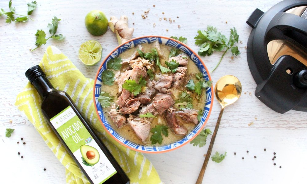 """""""By cooking with an Instant Pot, this dish comes together with ease. Warm up from the cold with this savory soup made with lots of protein, beneficial fats, and antioxidants. Infused with creamy coconut milk, the pork is unbelievably tender, and perfectly flavored with a sweet and savory combination of garlic, ginger, cumin, and coriander."""""""