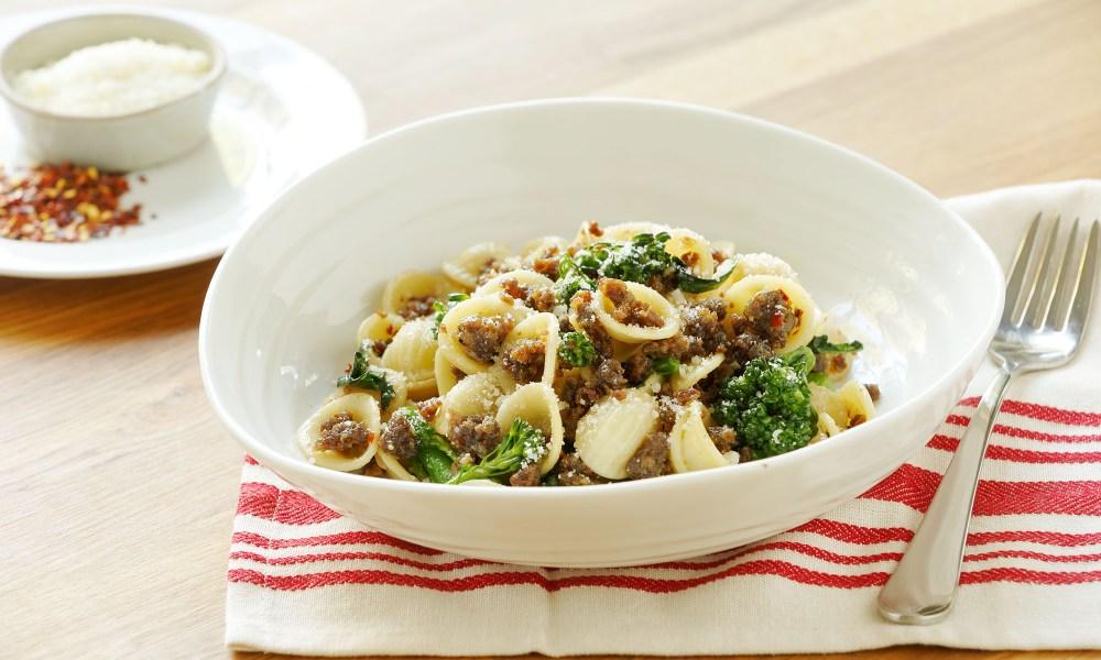 Orecchiette Pasta With Ground Lamb Broccolini And Pecorino Food Channel