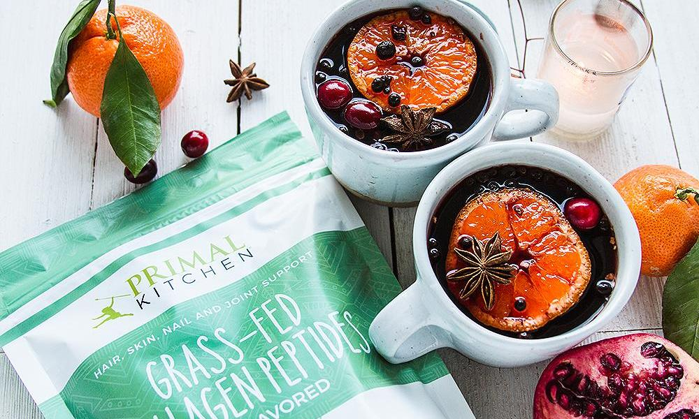 """""""Ring in the new year with primal cocktails infused with collagen and brimming with delicious, wintry ingredients. Take your pick of mulled wine, spiked mint cocoa, or holiday eggnog—or make all three for a night of celebration and good cheer."""""""