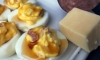 These are Wiltshire Smoked Deviled Eggs. No, not Hillshire, Wiltshire! Although the former is a popular brand of summer sausage and many of us still have a log of this leftover from the Holidays.