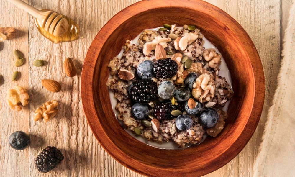 Put the power of ancient grains to work for your breakfast with this recipe for Steel Cut Oatmeal with Ancient Grains, Fruit and Nuts.