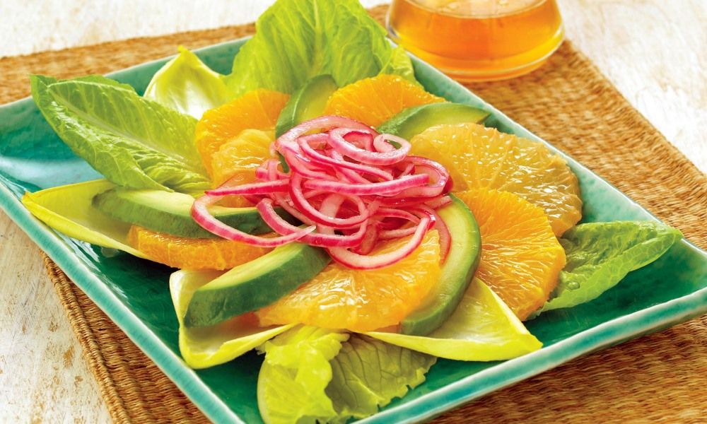 Ring in the flavors of spring and summer with a delicious salad packed with marinated onions and a homemade dressing made with orange peel, vinegar, honey, and oil. So fresh and flavorful!