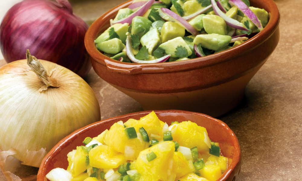 These two fresh and homemade salsa recipes, Avocado Red Onion and Mango Onion, are the perfect dips for your chips and make an amazing topping any fish or chicken taco entree.