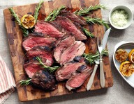 Grilled Butterflied Leg of Lamb with Rosemary Sea Salt and Charred Lemons