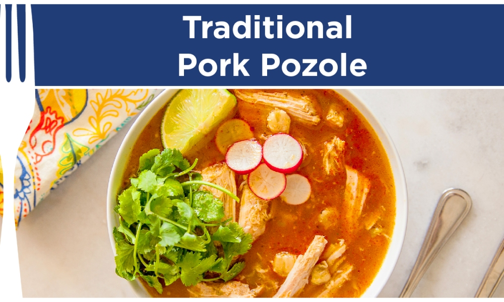 Pozole is a traditional Mexican stew that is made with a spicy and savory blend of spices, pork shoulder, garlic and lime juice to give it a zesty kick! It takes less than an hour for this stew to come together, making yournight much easier.