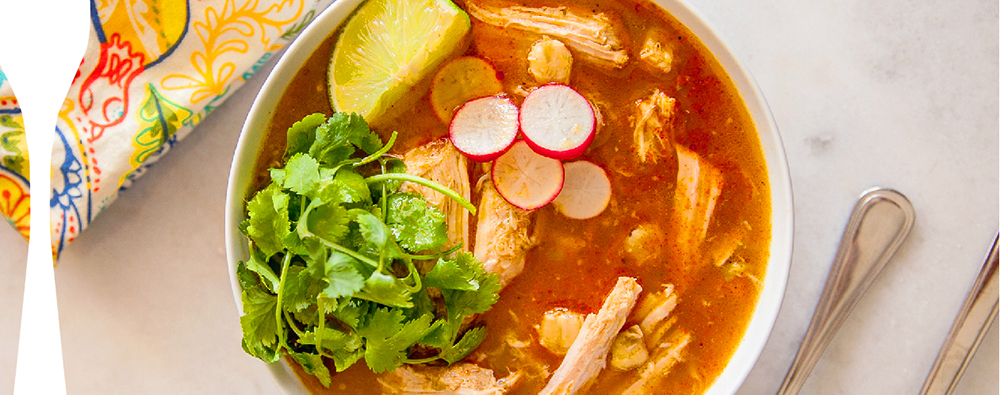 Pozole is a traditional Mexican stew that is incredibly rich, flavorful and made with hominy, a Mexican corn that gives the stew an authentic flavor and crunch.