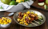 Three favorite things: jerk-rubbed chicken, mango and salsa. This recipe for Jerk Rubbed Chicken Skewers with Mango Salsa is Stephen Curry approved, need we say more?