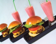Mini Bacon Cheddar Sliders and Strawberry Milkshakes
