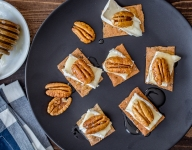 Pecan Brie Honey Crostini