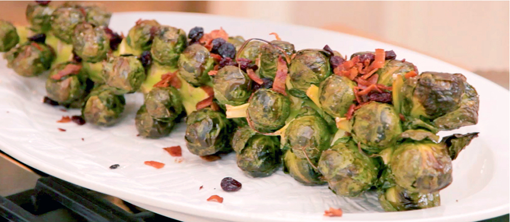 Eighty-five percent of Brussels Sprouts are sold frozen, which is crazy! There are so many fresh vegetable options available and, in this recipe for Bacon and Cranberry Roasted Brussel Sprouts, Chef Roni Proter uses the entire stalk when roasting.