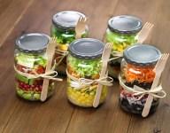 Quinoa, Corn and Edamame Chicken Salad in a Jar