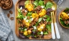 This recipe for Sliced Pecan Grilled Peach Salad with Goat Cheese is made with savory spiced pecans, sprinkled atop grilled peaches, tangy goat cheese and fresh-mixed greens. A refreshing seasonal salad with nice nutty crunch.