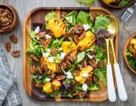 Sliced Pecan Grilled Peach Salad with Goat Cheese
