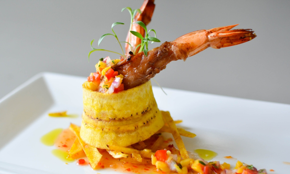 Talk about on-trend and delicious! This recipe from Chef Greg Ziegenfuss, executive chef at Butler's Pantry showcases the fusion of hot-and-spicy Thai-style shrimp with the sweetness of plantains and the ever-popular mango in a salsa. It's definitely a party for your palate.